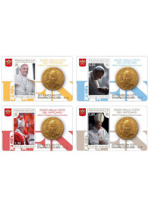 "2015 - 4 x Coincard VATICANO 50 Centesimi Papa Francesco ""Stamp and Coin"" Dalla 6 alla 9"