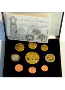 LETTONIA 2004 serie completa 8 monete in euro + 5 euro collection Pattern Prova