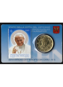 2014 Francobollo Giovanni Paolo II Coin Card 50 Centesimi Papa Francesco