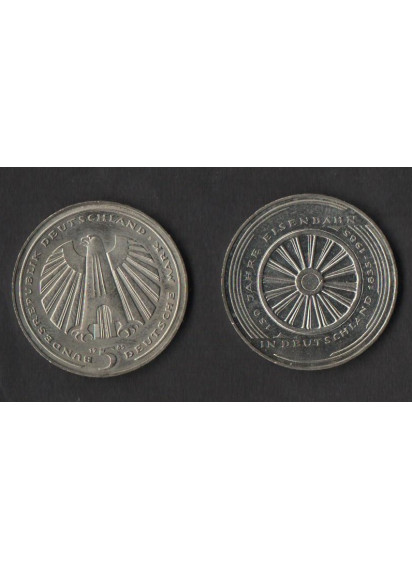 GERMANIA 5 Marchi Rame-Nickel 150 Anni Ferrovia Nurnberg-Furth 1985
