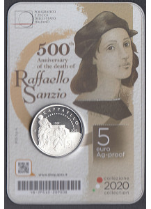 2020 - ITALIA 5 Euro  Ann.Morte Raffaello Sanzio Proof in Blister