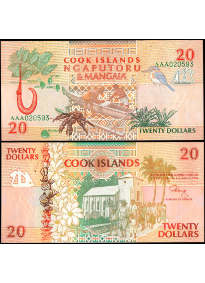 ISOLE COOK 20 Dollars 1992 Fior di Stampa