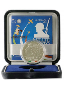 """2021 - 5 Euro Silver ITALY """"Centenary of the Unknown Soldier"""" Colored UNC"""