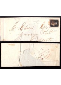 1841 Great Britain Rare Penny Black on envelope with Borelli certificate