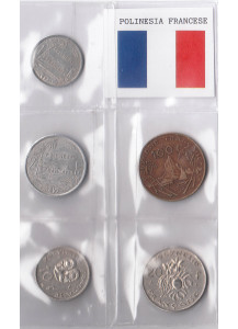 POLINESIA FRANCESE set monete circolate da 1 - 2 - 10 - 20 - 100 Francs BB