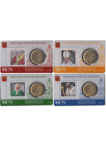 2018 - 4 x Coincard VATICANO 50 Cents Euro Stamp and Coin N 18-21 Unc
