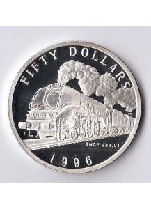 MARSHALL ISLANDS 50 Dollars 1996 Silver Proof Steam Locomotive SNCF 232.U1