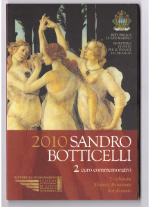 2010 Sandro Botticelli 2 € in Folder San Marino