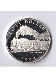 MARSHALL ISLANDS 50 Dollars 1996 Silver Proof Steam Locomotive C62 Swallow